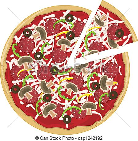 Clip Art of Pizza Slice Apart.