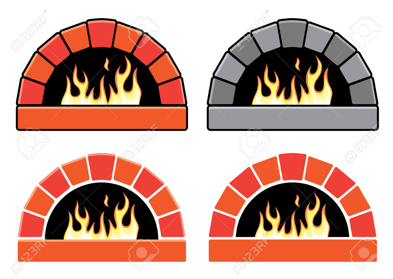 Vector Clipart Set Of Ovens With Burning Fire Royalty Free.