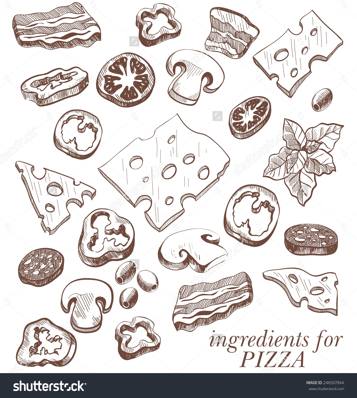 Pizza toppings clipart black and white.