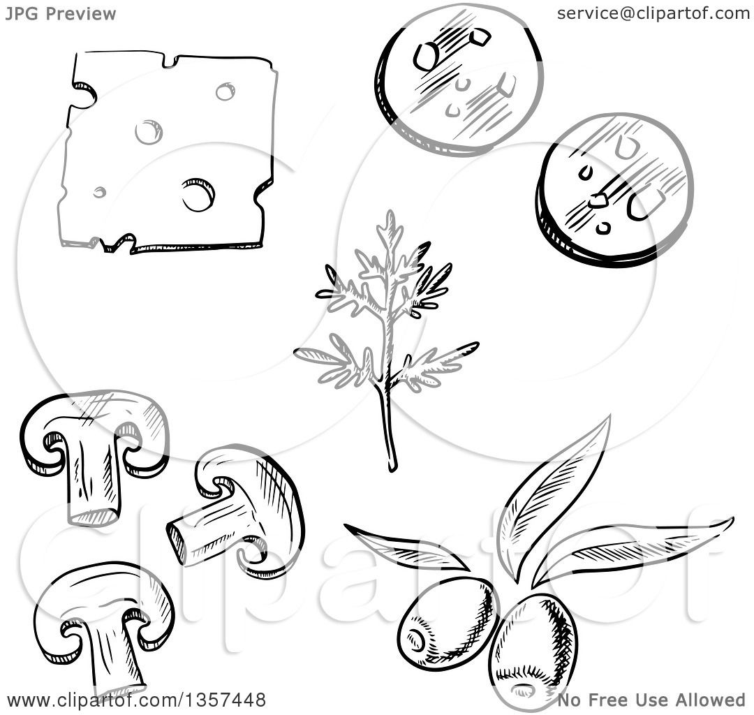 Clipart of Black and White Sketched Pizza Toppings, Cheese, Dill.