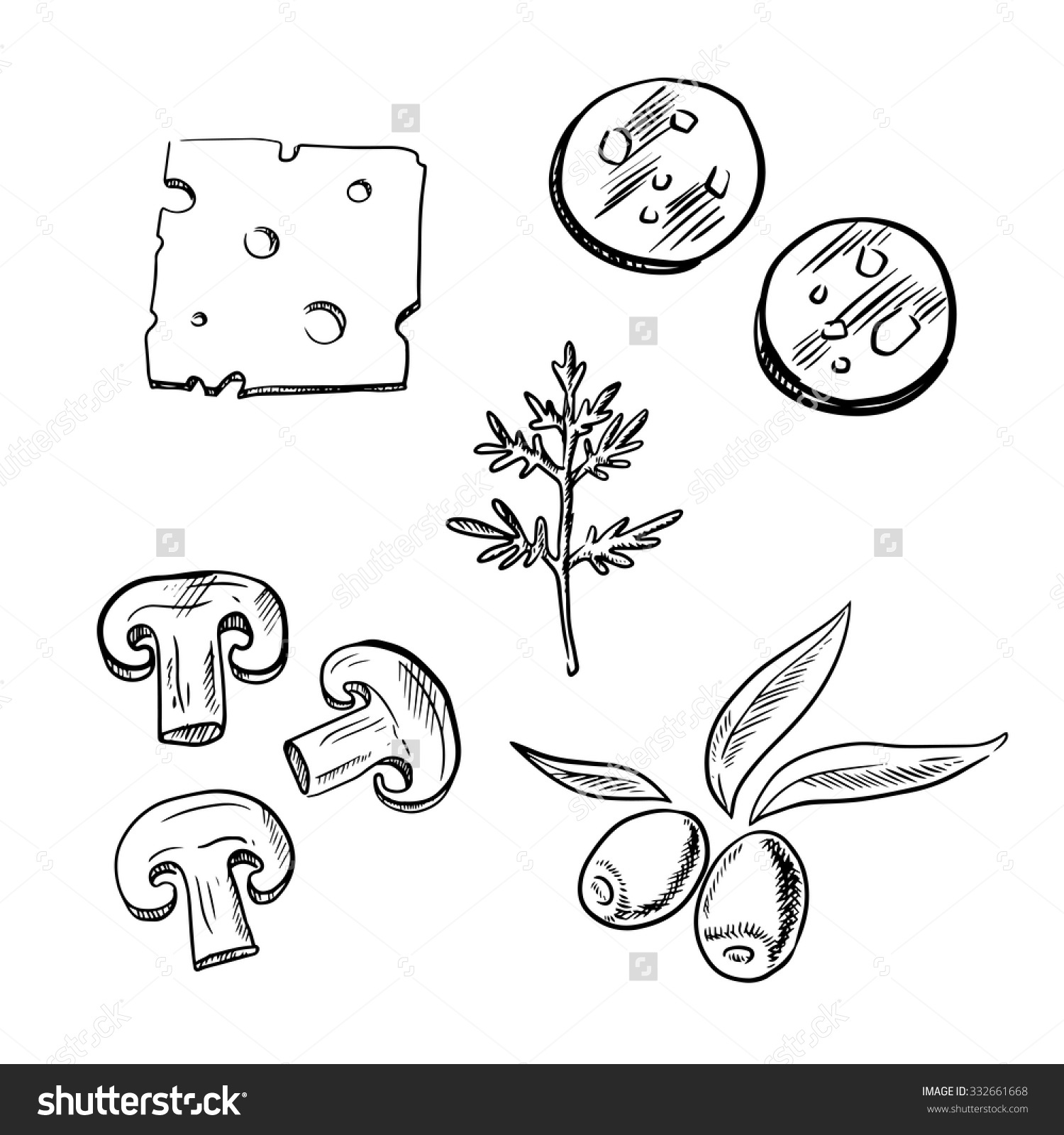 Italian Pizza Topping Ingredients Sketch Icons Stock Vector.