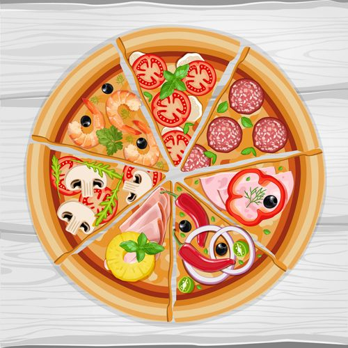 Pizza slice and wooden background vector in 2019.