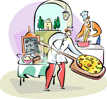 Royalty Free Clipart Image: Pizzeria in Italy.