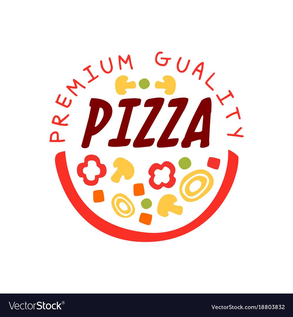 Creative flat pizzeria logo design with.