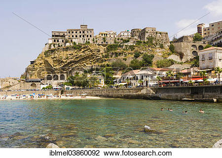"Stock Photo of ""Townscape with Castello Aragonese di Pizzo Calabro."