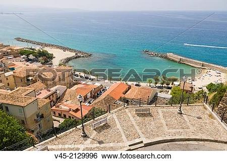 Stock Images of The view towards Pizzo Marina with Piazza Musolino.