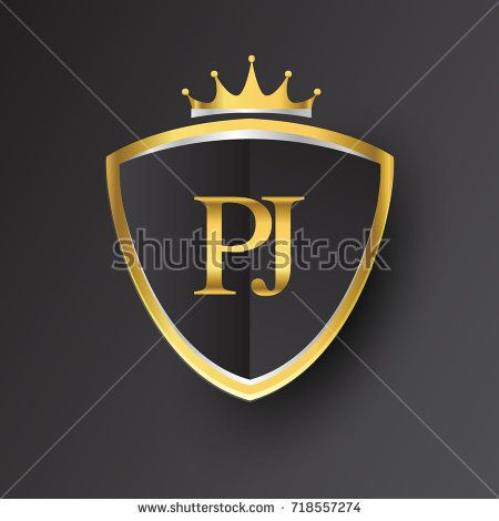 Initial logo letter PJ with shield and crown Icon golden.