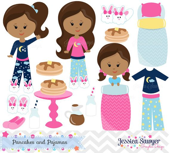 INSTANT DOWNLOAD, pancakes and pjs clipart and vectors for.
