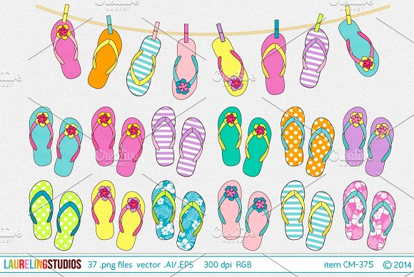 vector flip flop clip art ~ Illustrations on Creative Market.