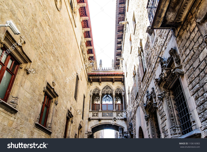 Barcelona: Neogothic Bridge At Carrer Del Bisbe (Bishop Street.