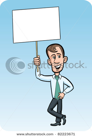 Businessman with Blank Placard For Advertising Message.