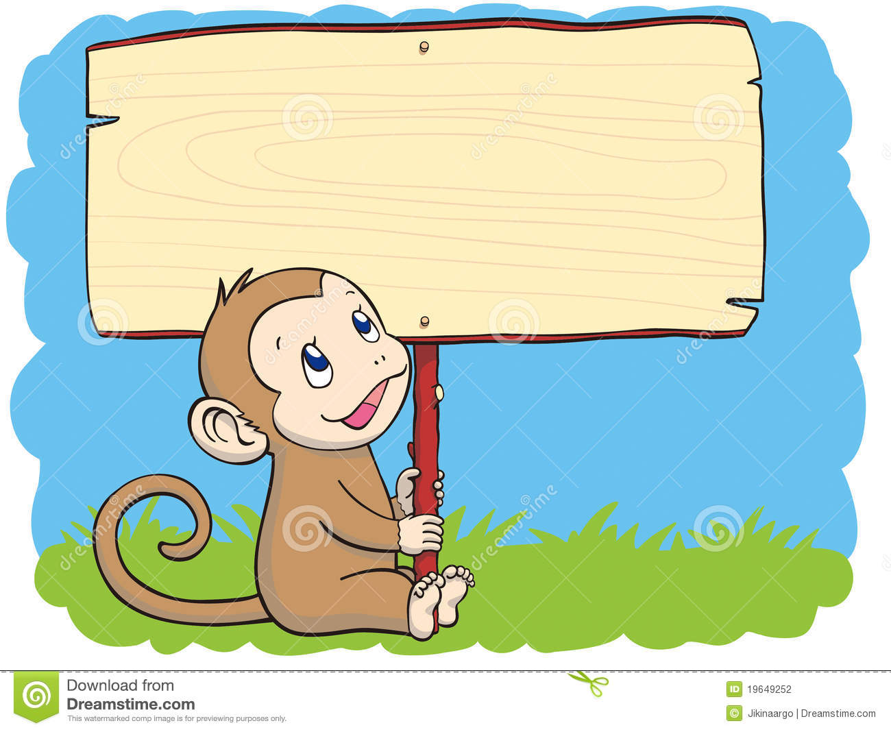 Monkey With The Placard Stock Photography.