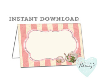 Tea Party Place Card Clipart.
