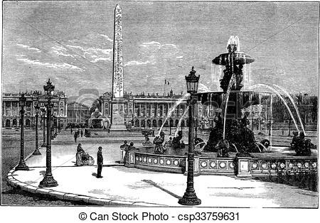 Vectors of Place de la Concorde in Paris France vintage engraving.