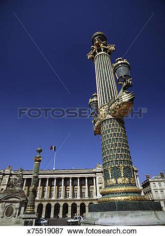 Picture of France, Paris, Place de la Concorde, lanterns on gilded.