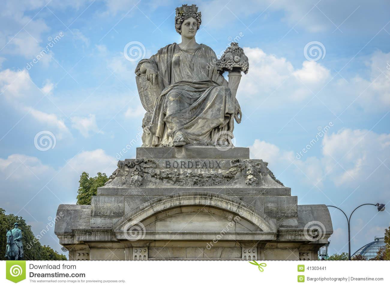 Statue Representing Bordeaux, Place De La Concorde, Paris Stock.