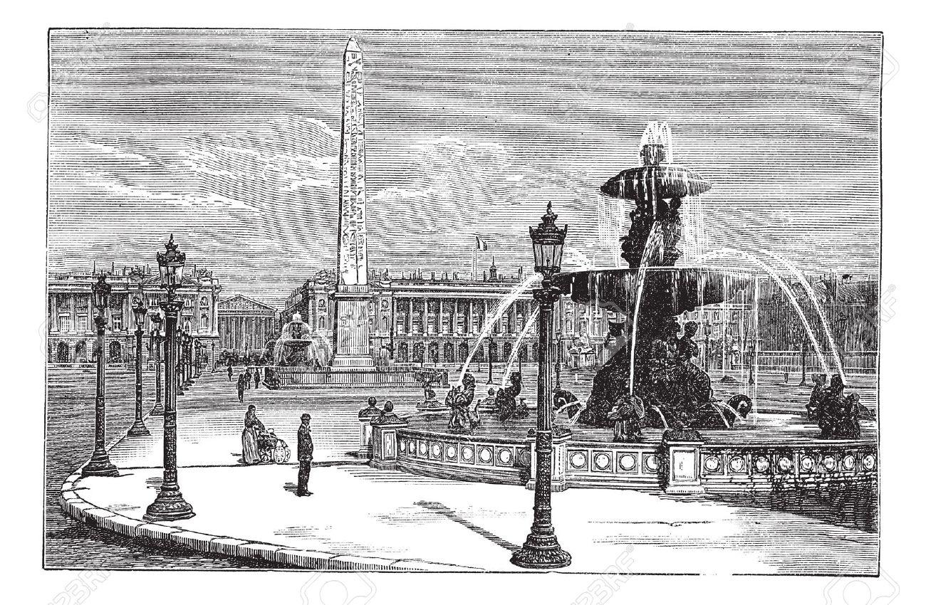 Place De La Concorde In Paris, France, During The 1890s, Vintage.