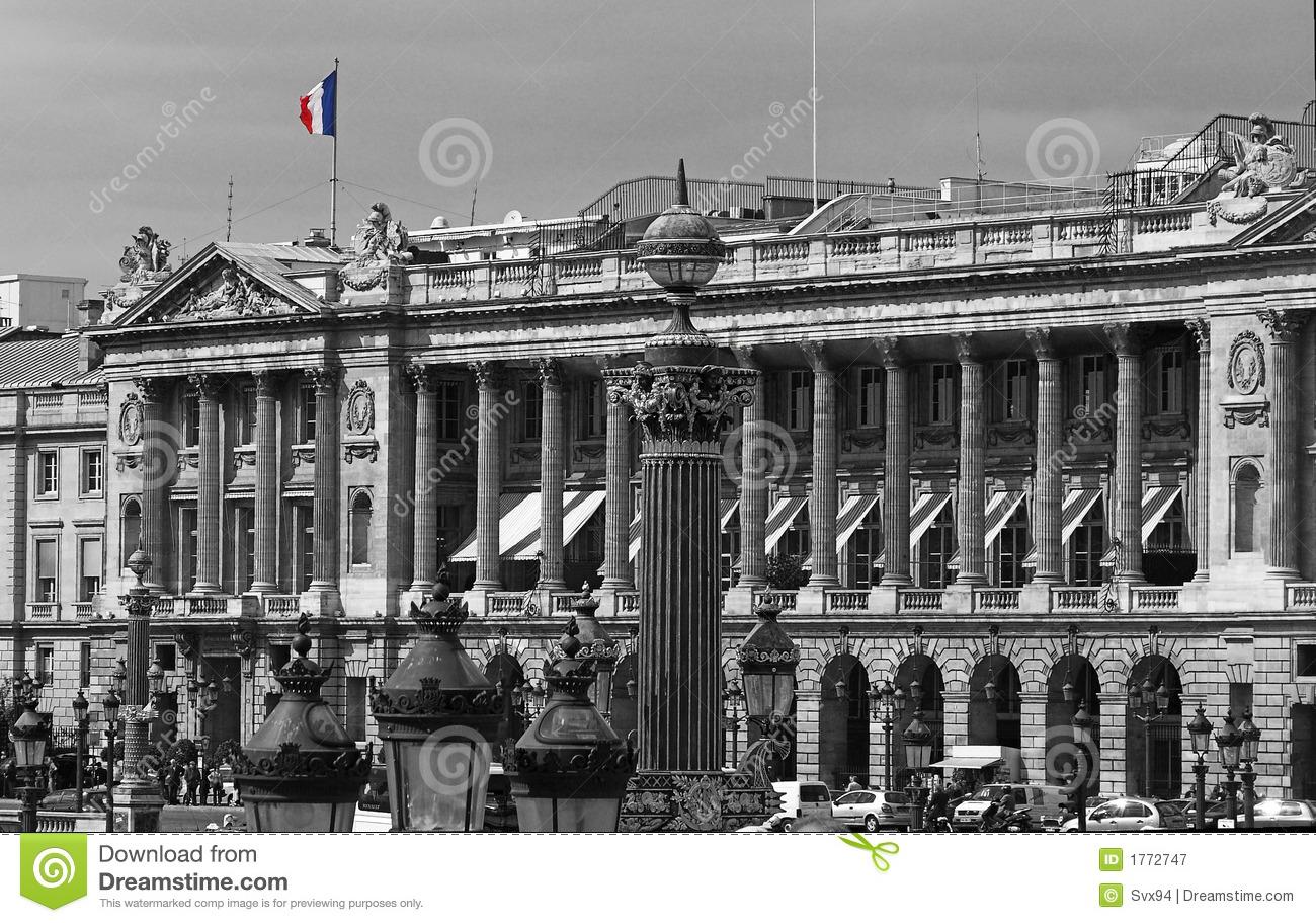 French Flag In The Place De La Concorde, Avenue Des Champs Elysees.