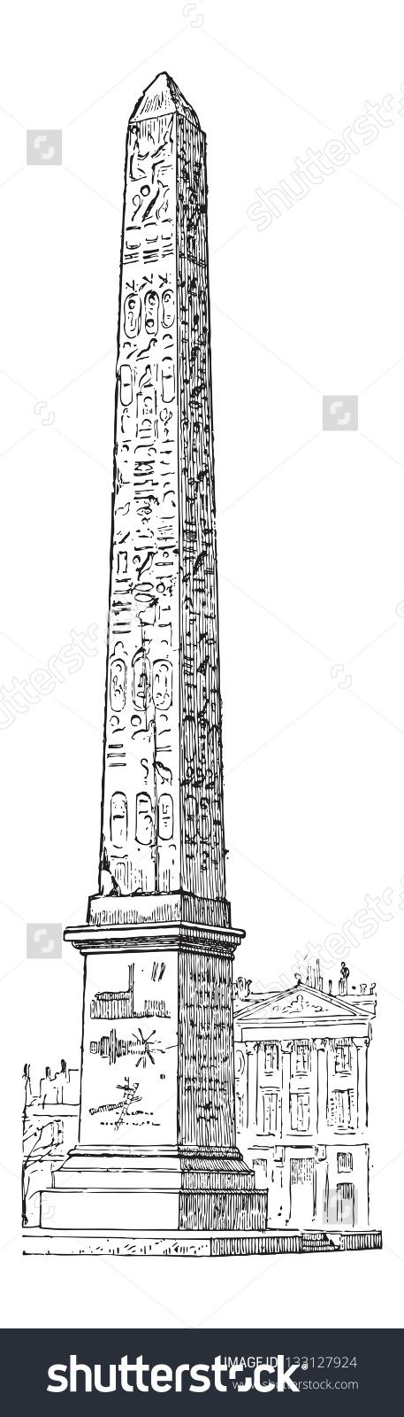 Luxor Obelisk Place De La Concorde Stock Vector 133127924.