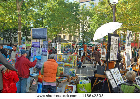 Montmartre October 31 Place Du Tertre Stock Photo 118642303.
