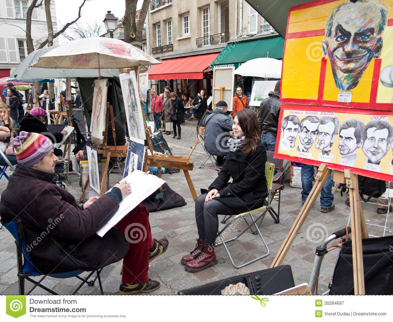 Painters In Place Du Tertre Paris Editorial Photography.