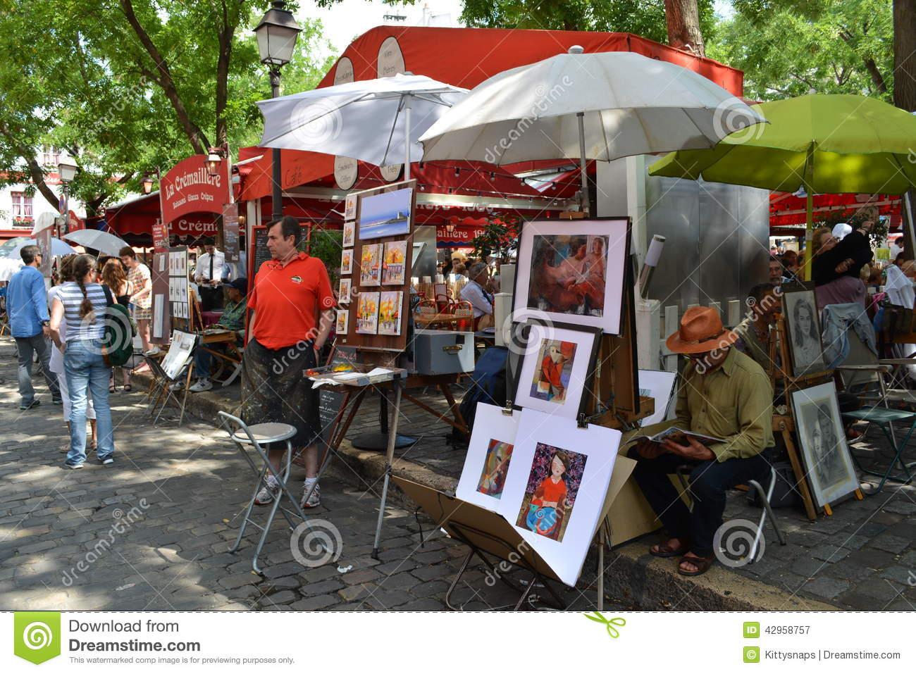 Place Du Tertre In Paris, France Editorial Image.