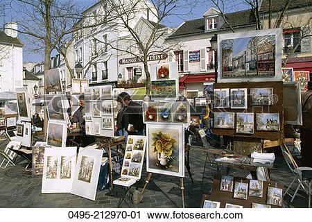 Stock Photography of France, Montmartre, Place du Tertre, Artists.