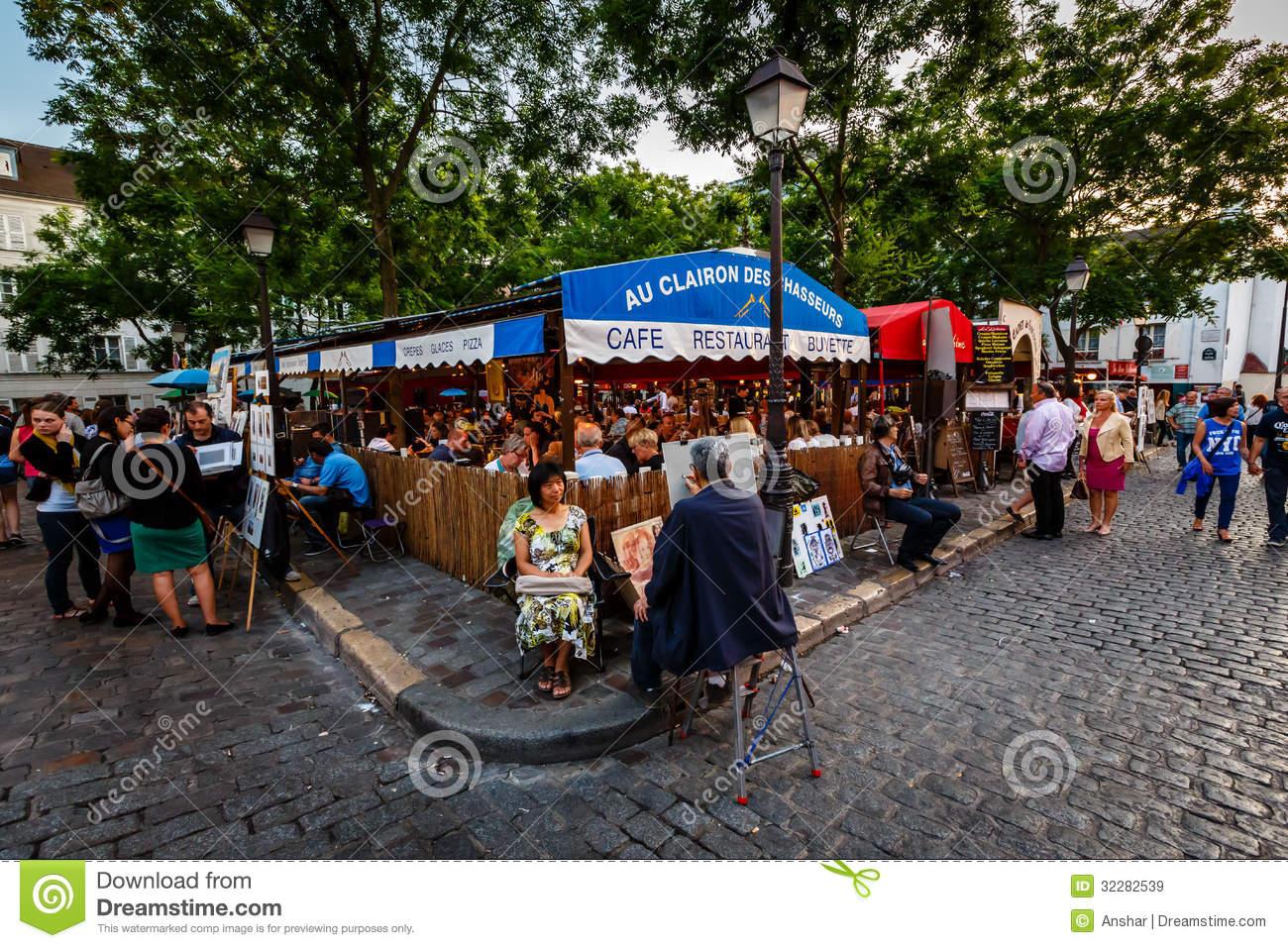 Place Du Tertre In Montmartre, Paris, France Editorial Stock Image.