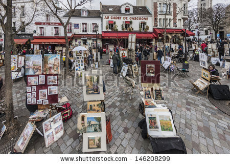 Montmartre March 13 Artists Easels Artwork Stock Photo 146208299.