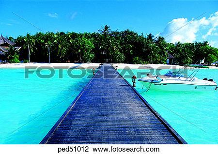 Stock Photo of travel place, destination, day, bridge, motor boat.