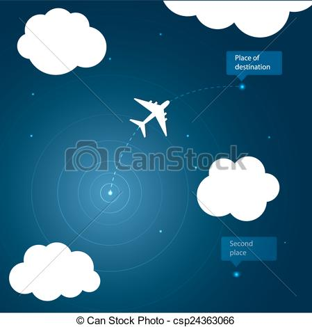 Clip Art Vector of Airplane routes to place of destination. Vector.