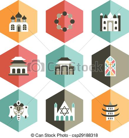 Vector Clip Art of icon place of worship.