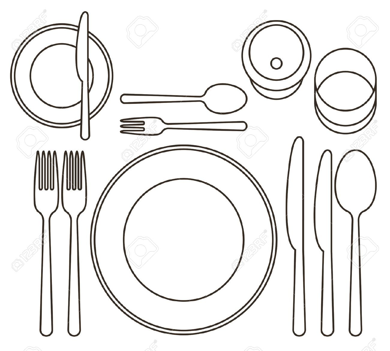 Community meal place setting clipart.