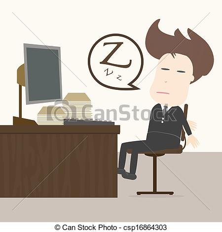Stock Illustration of Businessman fall sleep at working place.
