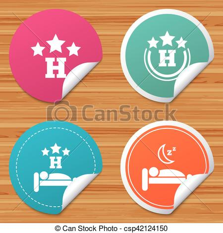 Clipart Vector of Three stars hotel icons. Travel rest place.