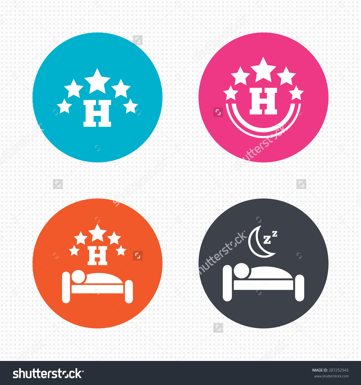 Circle Buttons Five Stars Hotel Icons Stock Vector 287252945.