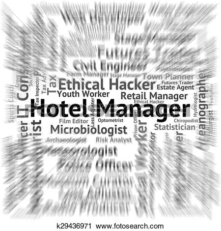 Clipart of Hotel Manager Represents Place To Stay And Career.