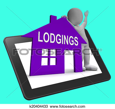 Drawing of Lodgings House Tablet Means Place To Stay Or Live.