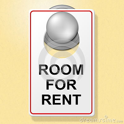 Room For Rent Indicates Place To Stay And Booking Stock.