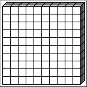 Clip Art: Place Value Blocks B&W 0100 I abcteach.com.