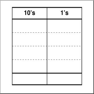 Clip Art: Place Value Chart: Tens 2 B&W 2 I abcteach.com.