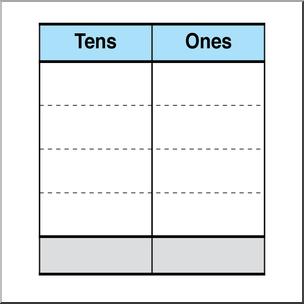 Clip Art: Place Value Chart: Tens 1 Color 2 I abcteach.com.