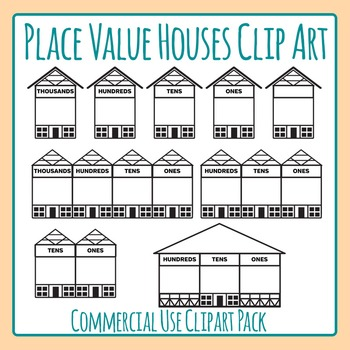 Place Value Houses Clip Art Pack for Commercial Use.