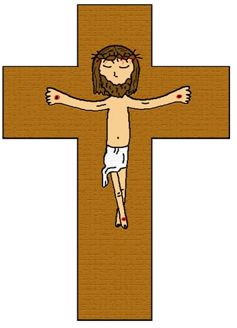 Sign placed on jesus cross clipart.