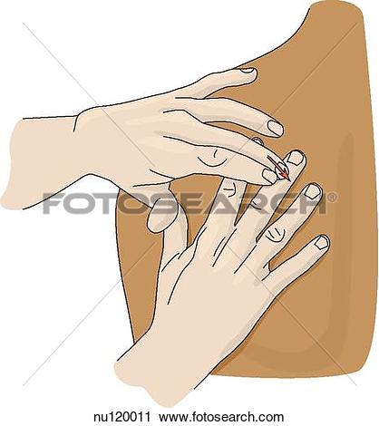 Clipart of Hands placed on a shoulder showing proper position and.