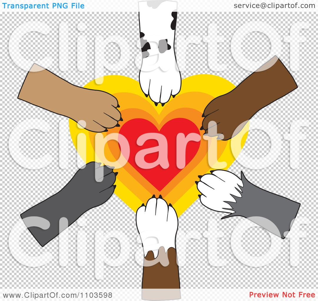 Clipart Dog Paws Placed In Unity Over A Radiating Heart.