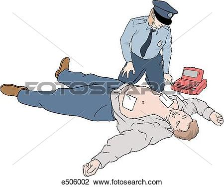 Clip Art of Policewoman has placed paddles onto a laying victim.