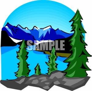 Lake Mountain Range Clipart.