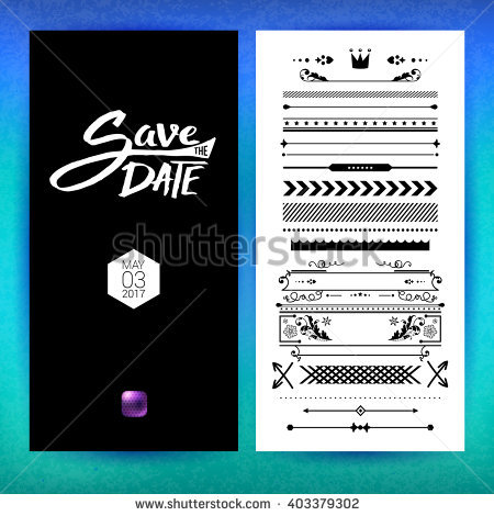 Black And White Save The Date Clip Art With Placeholder Text.