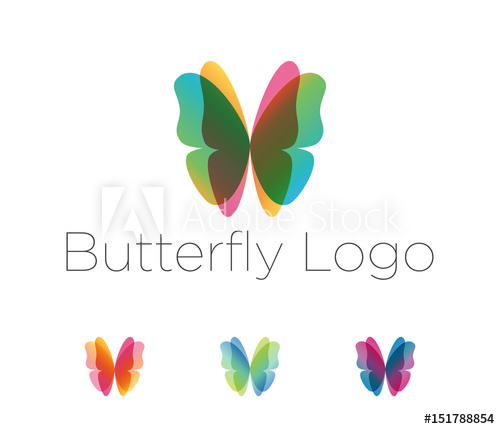 Butterfly wings logo set. Design elements in a variety of.